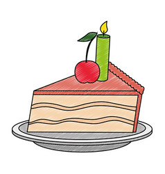 Sweet and delicious cake portion with candle vector