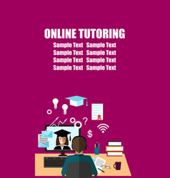 Talk through the internet student and tutor vector