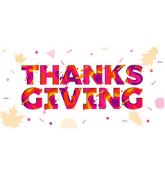 thanksgiving paper cut color text font for vector image