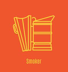 Thin line icon bee smoker vector