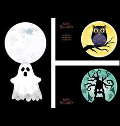 three happy halloween vector image