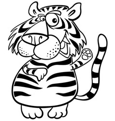 tiger animal character cartoon coloring book vector image
