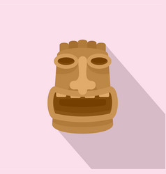 Tiki wood idol icon flat style vector
