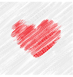 tire tracks heart background vector image