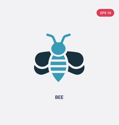 Two color bee icon from animals concept isolated vector
