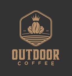 Vintage logo outdoor coffee food drink label vector