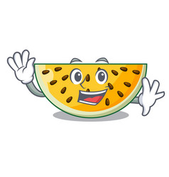 waving sliced yellow watermelon on character vector image