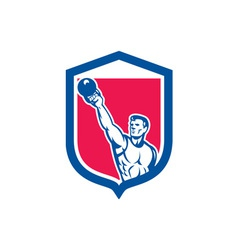 Weightlifter Lifting Kettlebell Shield Retro vector image