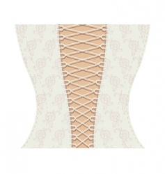 White corset with ribbon vector