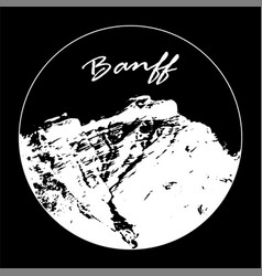 white miss cascade mountain with banff text vector image