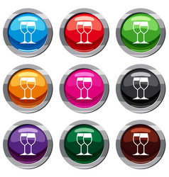 Wine glasses set 9 collection vector