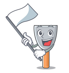 With flag vintage putty knife on mascot vector