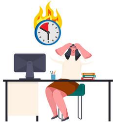 woman looking scared at burning clock vector image