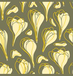yellow spring crocus flowers seamless vector image