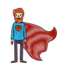 color crayon stripe cartoon full body bearded vector image