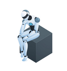 Robot thinking on cube isometric composition vector