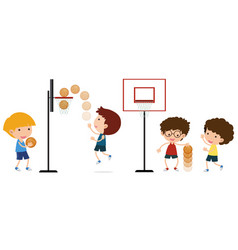 boys playing basketball on white background vector image