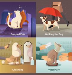pet shop concept icons set vector image