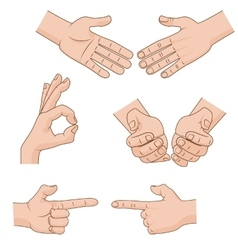 Set of cartoon Hands Icons for business vector image