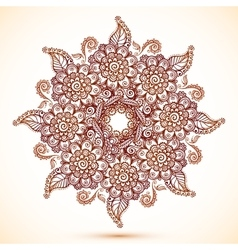 Vintage isolated mandala in Indian mehndi style vector image vector image