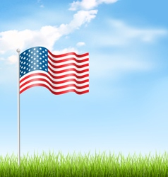 Wavy USA national flag with grass and clouds on vector image vector image
