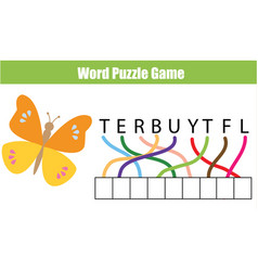 Words puzzle children educational game place the vector
