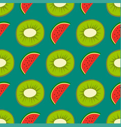 cartoon fresh kiwi fruits in flat style seamless vector image vector image