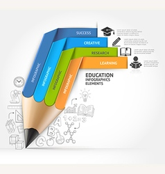 Education pencil staircase Infographics vector image vector image