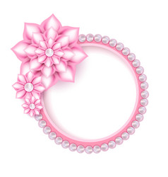 jewelry pink pearl frame for photo vector image