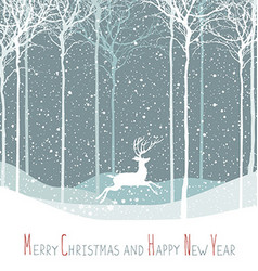 Merry Christmas postcard Christmas deer Calm vector image