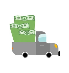 Car and money Pile of dollars in trunk of your vector image vector image