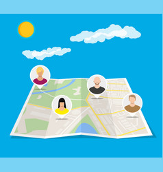city map with people avatars social netwroking vector image