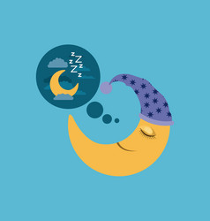 Color background of moon with sleeping cap vector