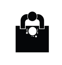 Man sitting at the table in resaurant icon vector