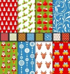 Set seamless christmas pattern santa stag toys vector image vector image
