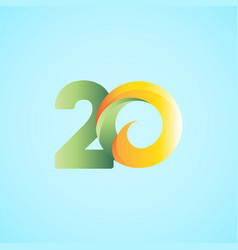 20 years anniversary celebrations yellow green vector