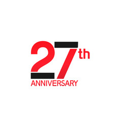 27 years anniversary logotype with black and red vector