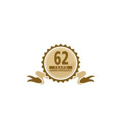 62 years ribbon anniversary vector