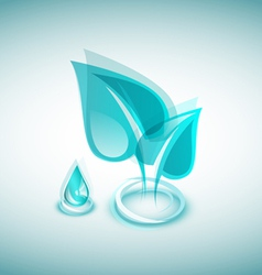 Abstract blue leaves and blue drop vector