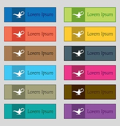 Alladin lamp genie icon sign Set of twelve vector