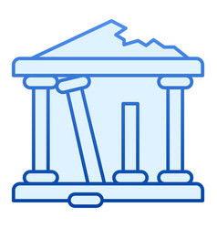 Ancient ruins flat icon greek ruins blue icons in vector