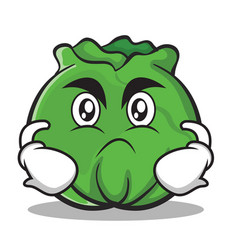 Angry cabbage cartoon character style vector