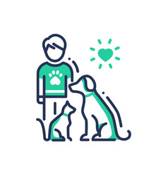 animals help - modern line design single vector image