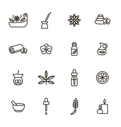 Aromatherapy and spa signs black thin line icon vector