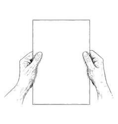 artistic or drawing of hands holding blank sheet vector image