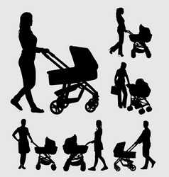 Baby sitter male and female action silhouette vector