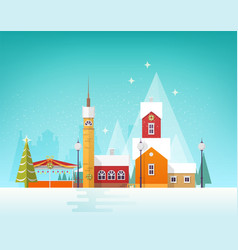 beautiful view winter city or town in snowfall vector image