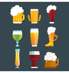 Beer glass set vector