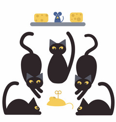 Black cats and mice vector