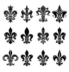 Black medieval royal fleur-de-lis symbols vector